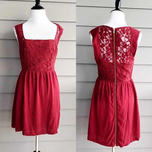4c21ee1404d Kimchi Blue Dresses   Skirts - Kimchi Blue Mini Brick Red Lace Sheath Dress